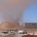 Dust devil sweeps through Roy Hill mine site