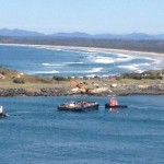 Choppy seas prevent mining equipment move