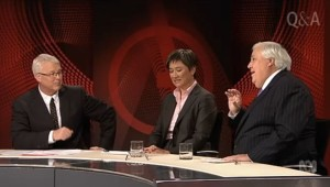 "Penny Wong grimaces as Palmer refers to ""Chinese bastards"" on QandA in 2014."